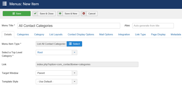 Joomla Menu Item mit Menu Item Type List All Contact Categories anlegen