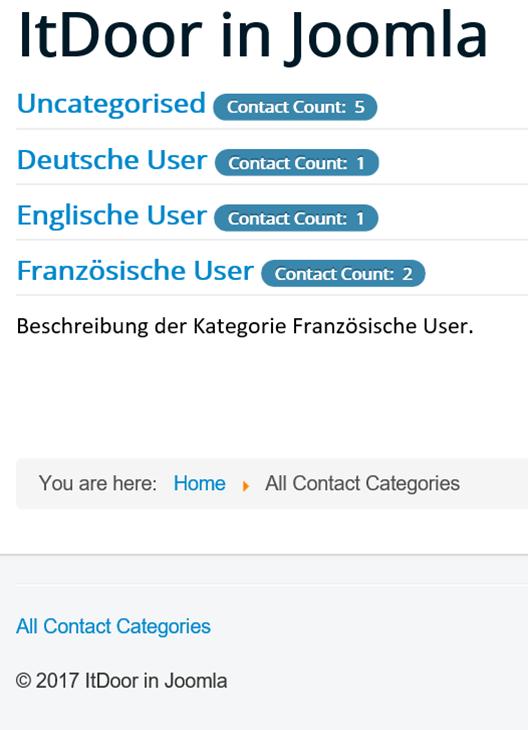 Joomla Website Alle Kontaktkategorien, eine Kontaktkategorie mit Beschreibung