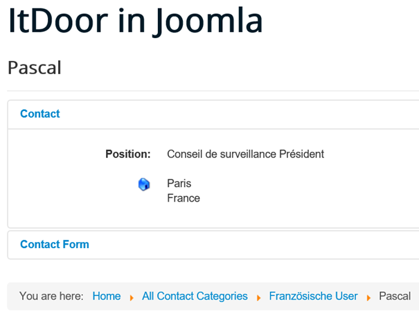 Joomla Website Kontaktdaten des Kontaktes Pascale