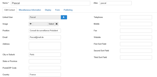 Joomla Kontakt Pascal Registerkarte Edit Contact