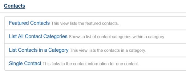 4 Möglichkeiten bei Menu Item Type Contacts Joomla