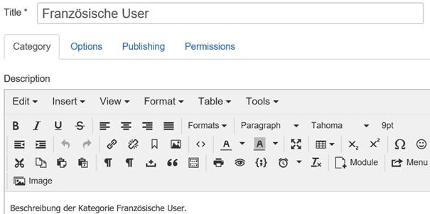 """Joomla Der Kontaktkategorie """"Französische User"""" eine Beschreibung hinzufügen"""