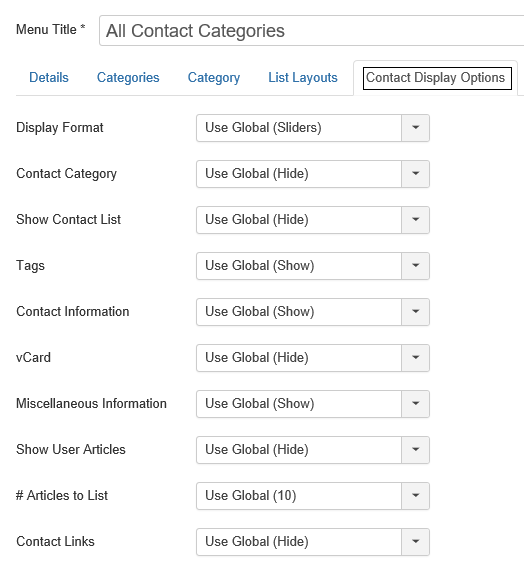 Menu Item Registerkarte Contact Display Options Joomla