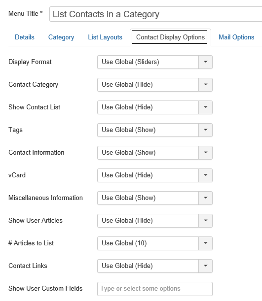 Joomla Registerkarte Contact Display Options im Menu Item