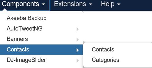 Menüfolge zu Kontakten und Kontaktkategorien Joomla