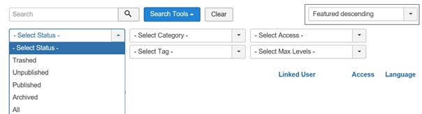 """Joomla """"Featured"""" kann nicht als Status selektiert werden"""