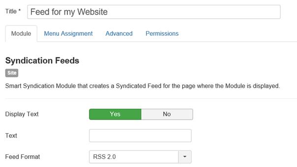 Joomla Linker Teil des Moduls für den selbst erstellten RSS Feed