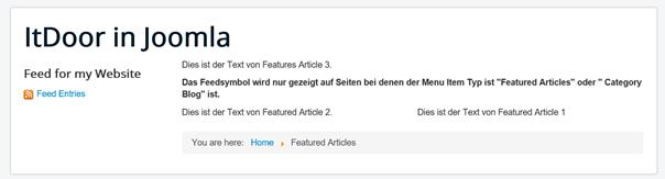 Selbst erstellter RSS Feed auf der Joomla Website