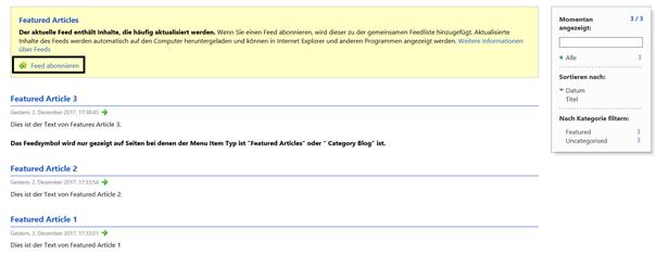 Joomla Der Inhalt des selbst erstellten RSS Feeds auf der Website