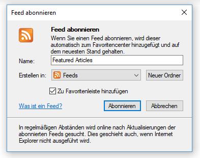Internet Explorer Feed abonnieren