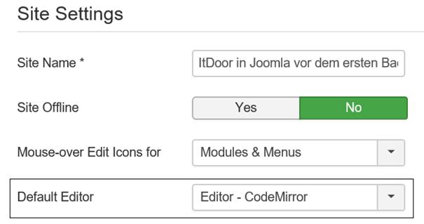 Joomla CodeMirror Editor auswählen für Einbindung der Facebook Elemente