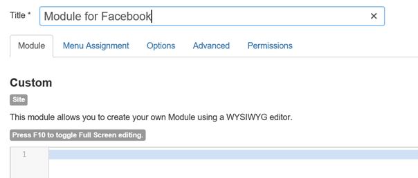 Joomla Modul für Facebook anlegen Modultyp Custom