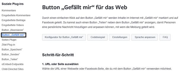 """Facebook Auswahl des Plugins """"Gefällt mir"""""""