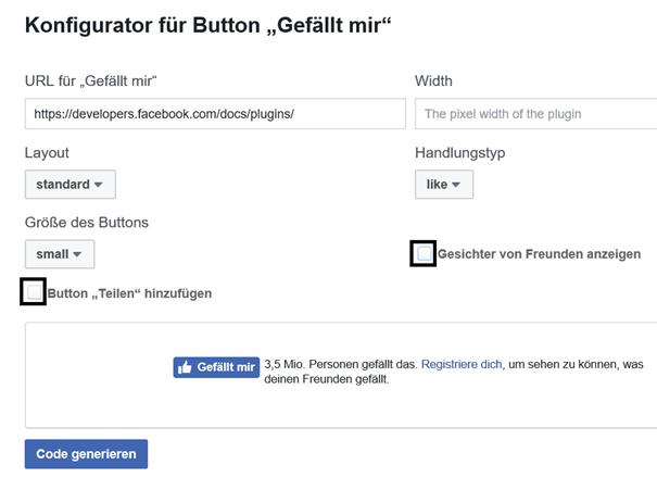 """Facebook Auswahlmöglichkeiten für den Button """"Gefällt mir"""""""