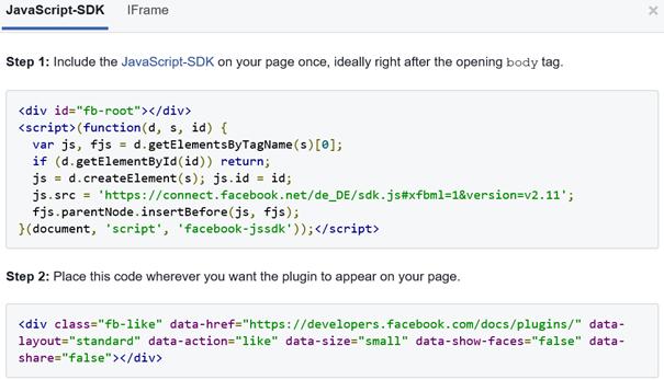 """Facebook 2 Code Blöcke für den ausgewählten """"Gefällt mir"""" Button"""