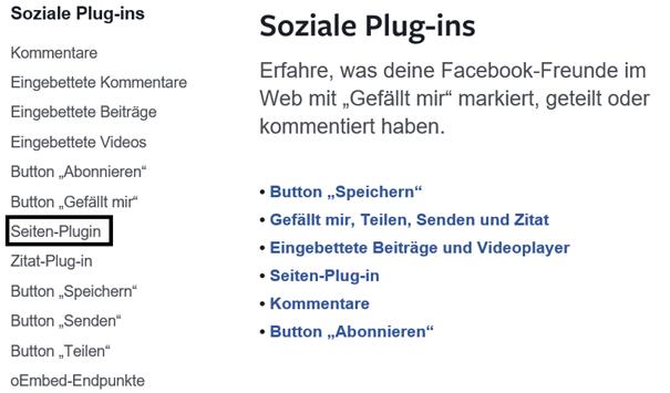 Facebook Auswahl des Seiten Plugins