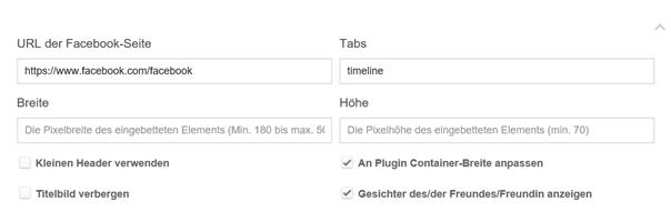 Einstellungsmöglichkeiten für das Seiten-Plugin von Facebook