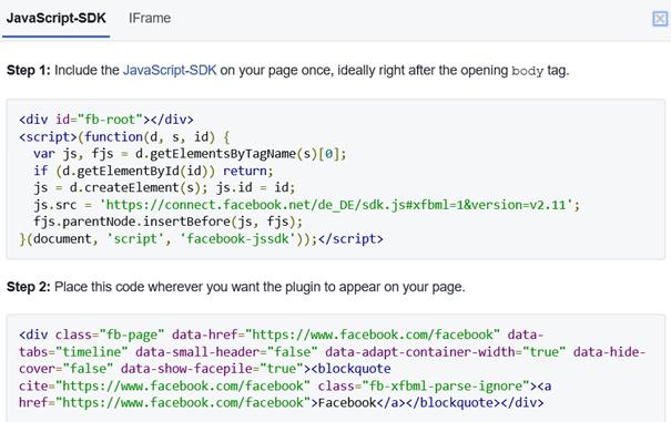 Beispiel für 2 Code Blöcke für das Seiten-Plugin von Facebook