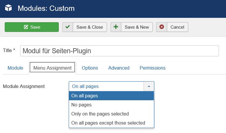 Joomla Seitenauswahl für das Modul für Seiten-Plugin