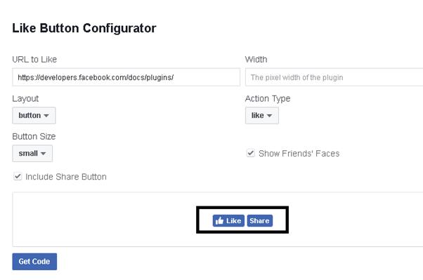Facebook Einstellungen für Like und Share ohne Text
