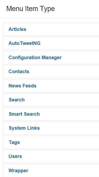Liste der Menu Item Types Contacts Joomla