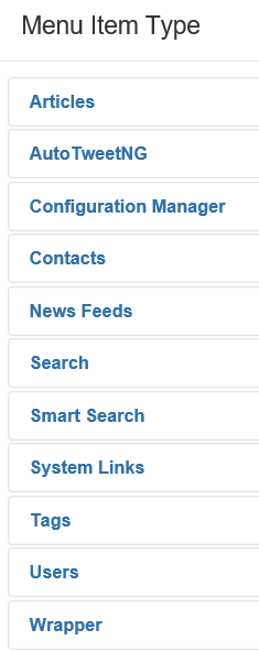 Joomla Liste der Menu Item Types Configuration Manager