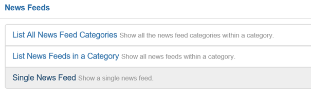 Joomla 3 Optionen bei Menüeintragstyp News Feeds