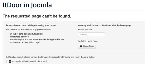 Meldung von Joomla wenn es bei dem ausgewählten Link keinen Newsfeed gibt