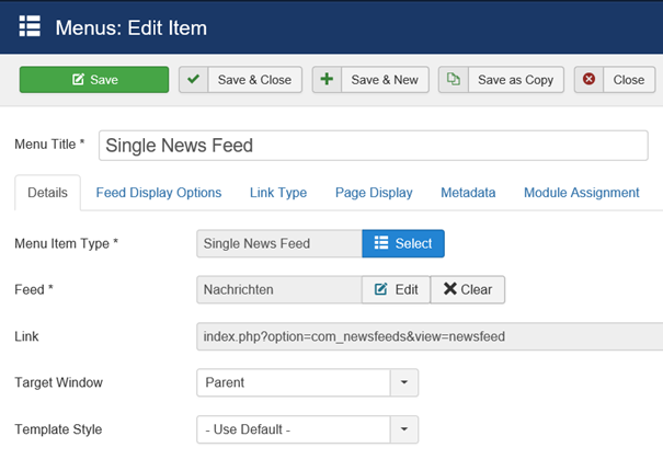 Joomla Menu Item Single News Feed linke Seite der Maske