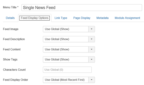 Joomla Menu Item Feed Display Options