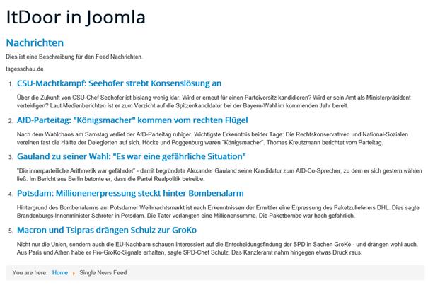Joomla Der Newsfeed von tagesschau.de nach Aufruf des Menüpunktes