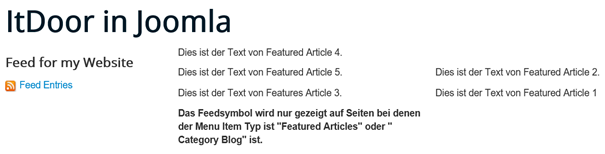 Joomla Website mit RSS Feed Symbol