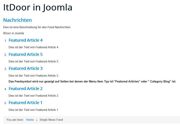 Joomla Den eigenen Newsfeed auf der eigenen Website getestet