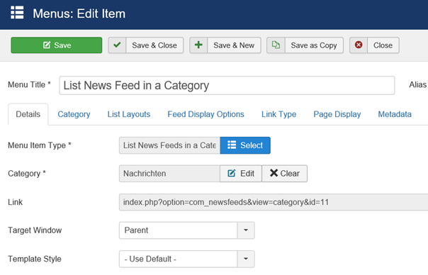 Joomla Menu Item List News Feed in a Category linke Seite der Maske