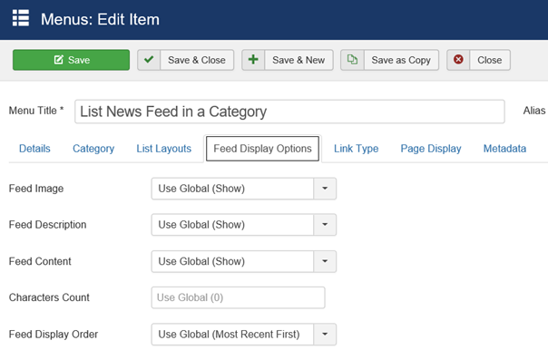 Joomla Menu Item List News Feed in a Category Feed Display Options