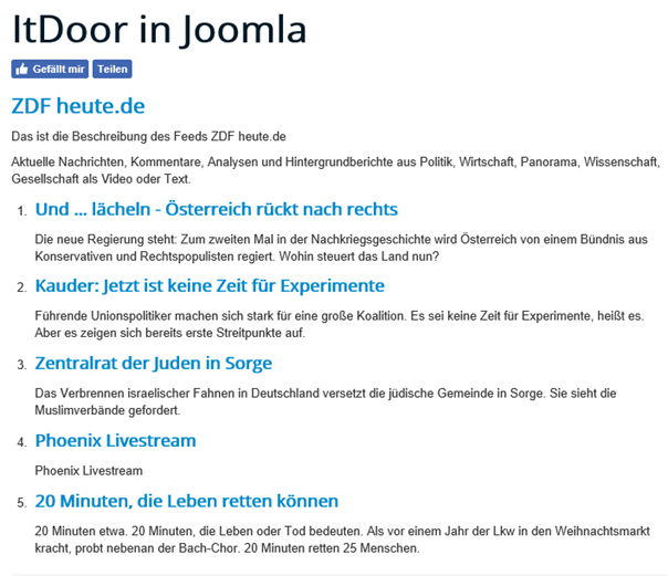 News Feed ZDF heute.de auf der Joomla Website