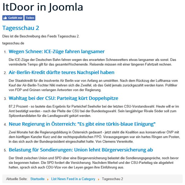 News Feed Tagesschau 2 auf der Joomla Website