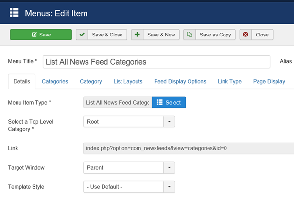 Joomla Menu Item List All News Feed Catagories linke Seite der Maske