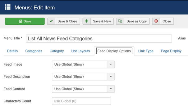 Joomla Menu Item List All News Feed Categories Feed Display Options