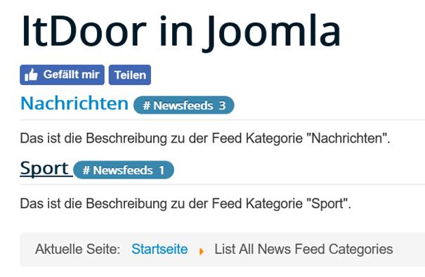 Joomla Die Liste der News Feed Kategorien auf der Website