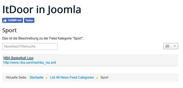 Joomla Die Liste der Newsfeeds der Feed Kategorie Sport