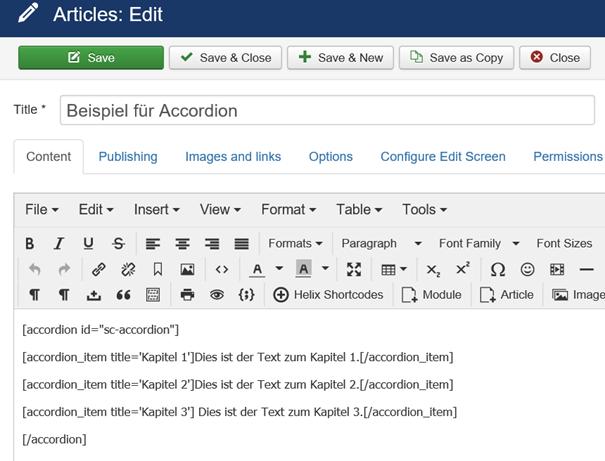 Joomla Shortcode Beispiel für Accordion