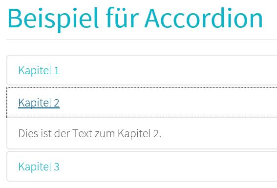 Beispiel für Accordion auf der Joomla Website