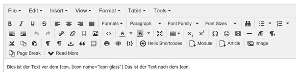 Joomla Artikel mit Shortcode für ein Icon