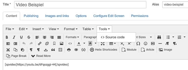 Joomla Tools Source Code beim Editor TinyMCE