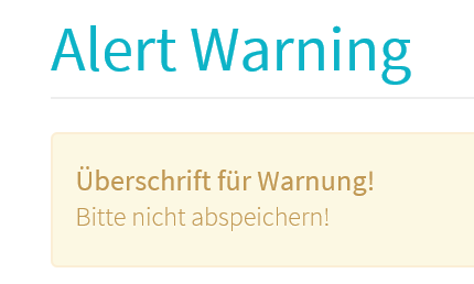 Joomla Website nach dem Klick auf den Button Warning