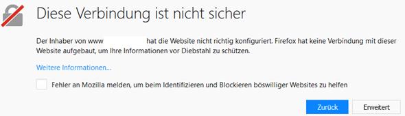 Meldung von Firefox wenn kein gültiges Zertifikat vorliegt