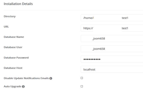 MySQL Datenbank der Joomla Installation