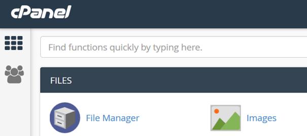 Der Weg zum File Manager in cPanel