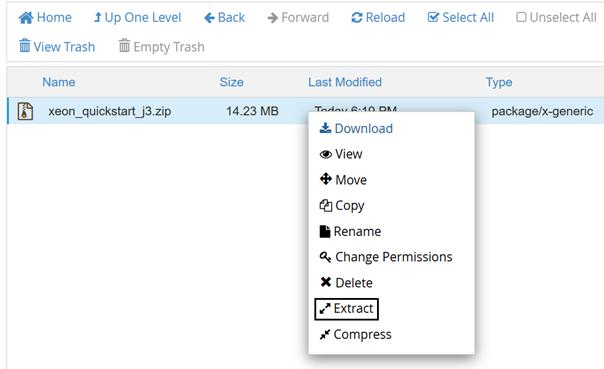 ZIP Datei für die Joomla Quickstart Installation entpacken
